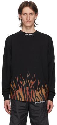 Palm Angels Black Tiger Flames Long Sleeve T-Shirt