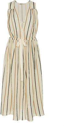 Three Graces London Solaine Striped Cotton-Blend Midi Dress