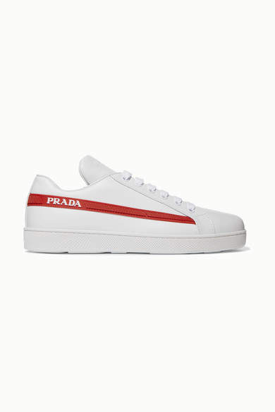 Prada Avenue Last Logo-embellished Leather Sneakers - White