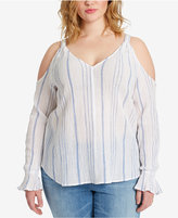 Jessica Simpson Trendy Plus Size Semi-Sheer Cold-Shoulder Top