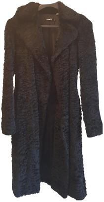 DKNY Black Rabbit Coat for Women