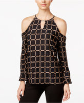 INC International Concepts Printed Cold-Shoulder Top, Only at Macy's