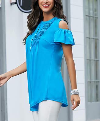 Reborn Collection Women's Tunics Aqua - Aqua Cold-Shoulder Tunic - Women & Plus