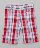 E-Land Kids Red & Light Blue Plaid Shorts - Toddler & Boys