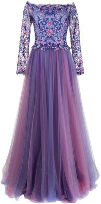 Tadashi Shoji Eshima Ethereal floral-embroidered tulle gown