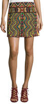 Valentino Geometric Beaded Mini Skirt, Multi
