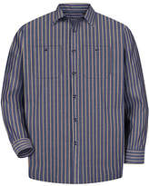 Red Kap Mens Long Sleeve Striped Button-Front Shirt