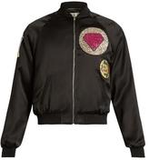 Saint Laurent Patch-appliqué Satin Bomber Jacket