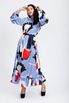 Liquorish Maxi Shirt Dress with Balloon Sleeves in Turquoise floral print