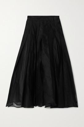 A.W.A.K.E. Mode Pleated Chiffon Midi Skirt - Black