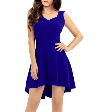 ZKHOECR Midi Dresses for Women Vintage Fall Dress Without Sleeve Cowl Neck Pleated Aline Teen Dresses Asymmetrical High Low Hem Flowing Stretchy Casual Daily Wear Navy XXL