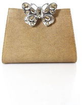 Leiber Light Brown Metallic Leather Butterfly Silver Chain Handbag IN BAG