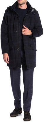 Tommy Hilfiger Plaid Hooded Zip Felted Coat
