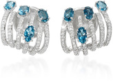 Hueb Spectrum 18K White Gold Diamond and Topaz Earrings
