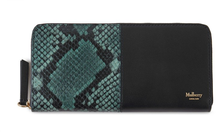 Mulberry 8 Card Zip Around Wallet Green Python Printed Leather and Silky Calf