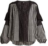 Rachel Comey Oversized gingham lace-trimmed blouse