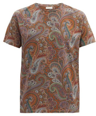 Etro Crew-neck Paisley-print Cotton T-shirt - Orange Multi