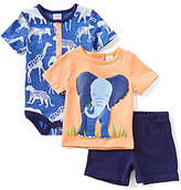 Starting Out Baby Boys Newborn-9 Months Elephant Shirt, Safari Animals Bodysuit & Shorts 3-Piece Set