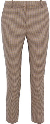 Theory Cropped Checked Wool-blend Slim-leg Pants