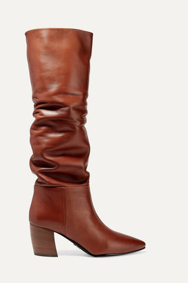 Prada 65 Leather Knee Boots - Tan
