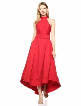 C/Meo Women's Confirmative Halter High Low Fit and Flare Party Dress