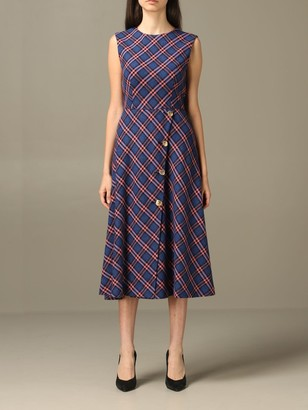 Boutique Moschino Dress Moschino Boutique Midi Dress In Check Bouclé Wool Blend