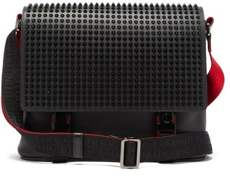Christian Louboutin Loubiclic Spike Embellished Leather Cross Body Bag - Mens - Black