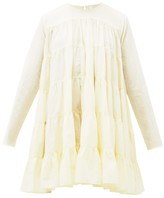 Merlette New York Soliman Tiered Cotton Mini Dress - Womens - Light Yellow