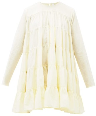Merlette New York Soliman Tiered Cotton Mini Dress - Light Yellow