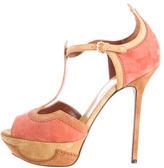Sergio Rossi Suede Colorblock Platform T-Strap Sandals