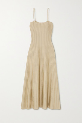 CASASOLA + Net Sustain Carlotta Ribbed Stretch-knit Midi Dress - Beige