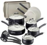 Paula Deen Savannah Collection 17-Piece Aluminum Cookware Set with Bakeware in Black