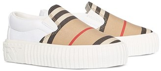 BURBERRY KIDS Icon Stripe slip-on sneakers