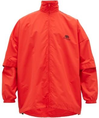 Balenciaga Logo-embroidered Convertible-sleeve Shell Jacket - Black Red