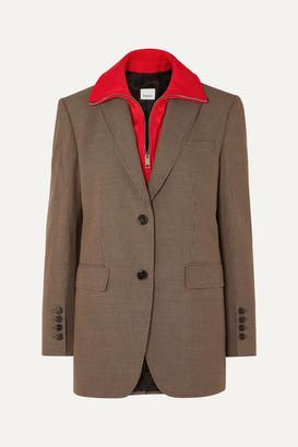Burberry Jersey-trimmed Houndstooth Wool Blazer - Beige
