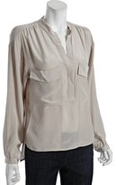 BCBGMAXAZRIA light stone silk woven 'Harper' high-low blouse