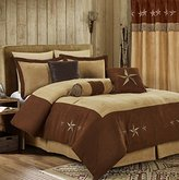 """Chezmoi Collection 7 Pieces Western Star Embroidery Design Microsuede Bedding Oversized Comforter Set (Full 90"""" x 92"""", Brown/Coffee)"""