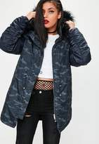 Missguided Navy Camouflage Printed Hooded Parka Jacket, Blue