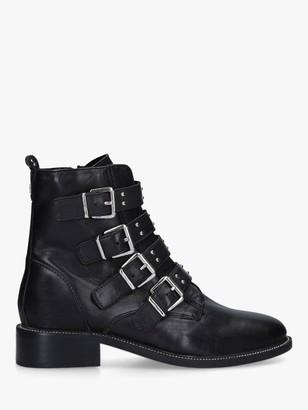 Carvela Strap Leather Buckle Biker Boots, Black