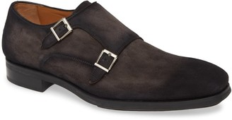 Magnanni Lawson Water-Resistant Suede Double Monk Strap Loafer