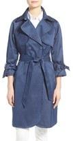 Eliza J Women's Denim Sateen Trench Coat