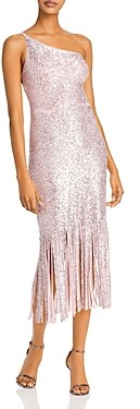 Aqua Sequined Fringed Hem Gown - 100% Exclusive