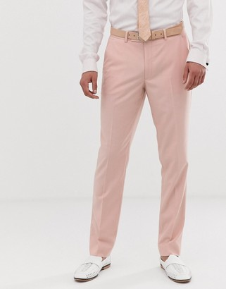 ASOS DESIGN wedding skinny suit trousers in rose pink