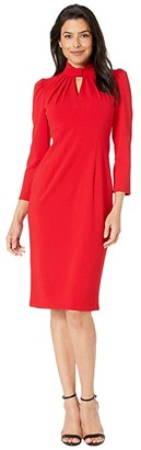 Calvin Klein 3/4 Sheath Dress with Keyhole (Red) Women's Dress