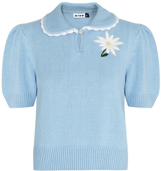 Rixo Annalise blue knitted jumper