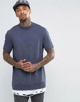 Asos Longline T-Shirt With Distressed Hem In Heavyweight Jersey In Navy