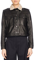 Kenzo Fur-Collar Cropped Leather Jacket, Black