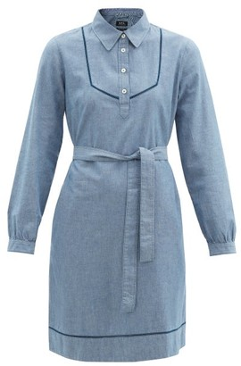 A.P.C. Maeve Belted Cotton-chambray Dress - Blue