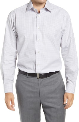 David Donahue Regular Fit Dobby Check Dress Shirt