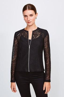 Karen Millen Lace Zip Up Long Sleeved Jacket